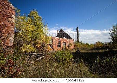 Abandoned Quincy Copper Mine. The abandoned mine is part of the Keweenaw National Historic Park in the Upper Peninsula of Michigan. The sites focus on the history of copper mining. Calumet, Michigan.