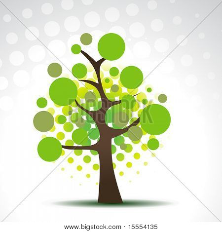 vector abstract circles tree illustration