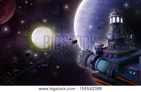 Space Station. Video Game's Digital CG Artwork, Concept Illustration, Realistic Cartoon Style Background