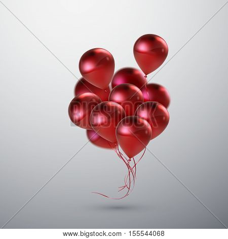 Vector festive illustration of flying realistic glossy balloons. Red balloon bunch. Decoration element for holiday event invitation design. Applicable for banner, poster, flyer, greeting cards