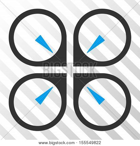 Hover Drone vector pictogram. Illustration style is flat iconic bicolor blue and gray symbol on a hatch transparent background.