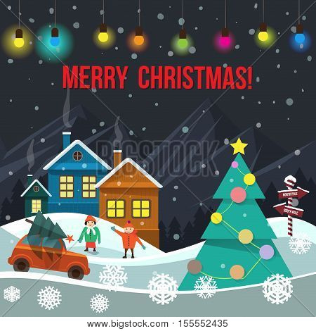 Merry Christmas vector flat greeting card with houses, mountains, decorated Christmas tree with star on the top, car, kids playing, colorful bulbs.