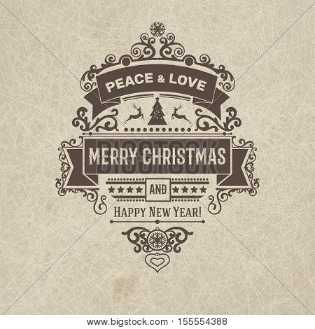 Vintage premium retro flat style trendy Merry Christmas badge card and New Year wish greeting. Vector illustration with brown text inscription beige scratched grange background for wallpaper