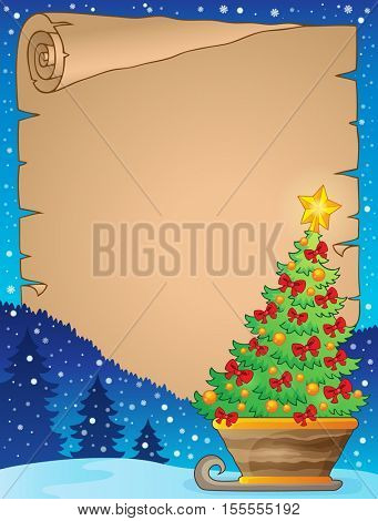 Parchment with Christmas tree on sledge - eps10 vector illustration.