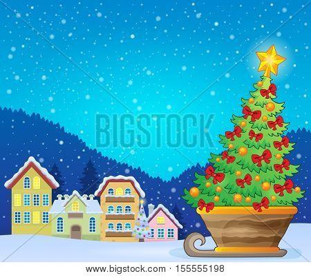Christmas tree on sledge near village - eps10 vector illustration.