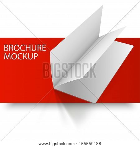Blank empty magazine or book or booklet, brochure, catalog, leaflet, template on a red and white background. Red Line series. Ready for your design.