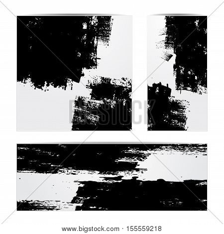 Set of three gray frames with black grunge splash