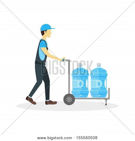Water Delivery Boy or Man. Plastic Bottles in Cart. Flat Design Style Vector illustration