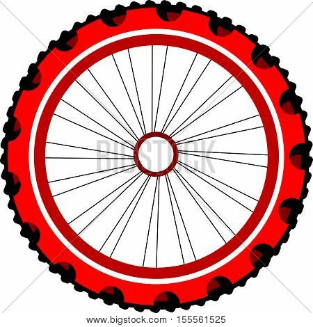 red and black Bicycle wheel isolated on white