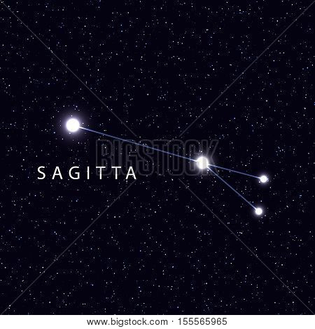 Sky Map with the name of the stars and constellations. Astronomical symbol constellation Sagitta