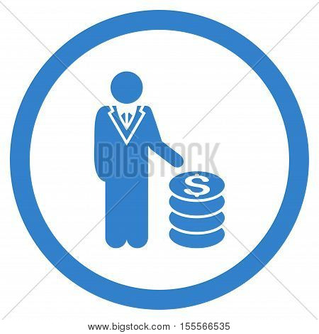 Businessman rounded icon. Vector illustration style is flat iconic symbol, cobalt color, white background.