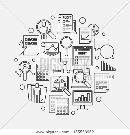 Audit circular linear illustration. Round vector business analytics and financial audit outline minimal sign