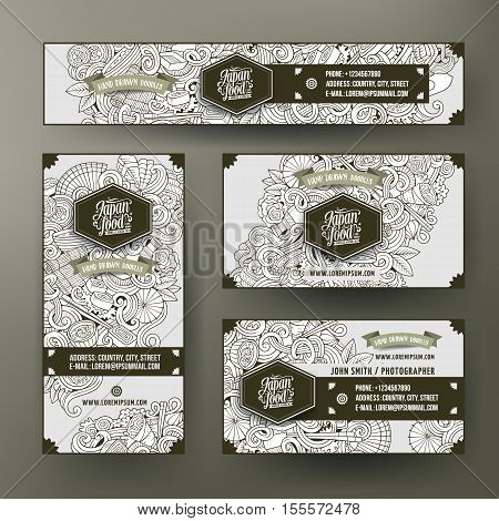 Corporate Identity vector templates set design with doodles hand drawn Japan food theme. Line art banner, id cards, flayer design