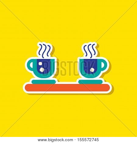 paper sticker on stylish background of coffee cups flavor
