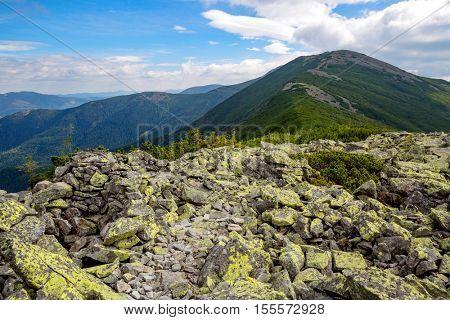 Nice carpathian landscape with view on mountain ridge, Ukraine