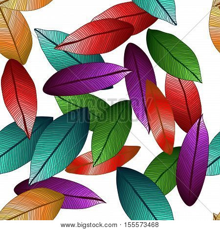 Vector colored leaves with degrade effect on white background. Foliage