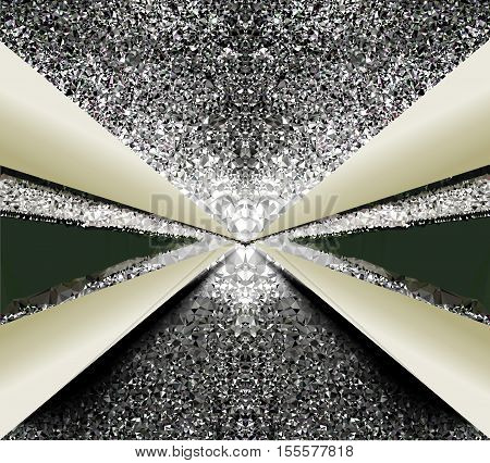 Background with silver crystals resembling light coming out of the tunnel. Abstract black and silver glowing background of crystals