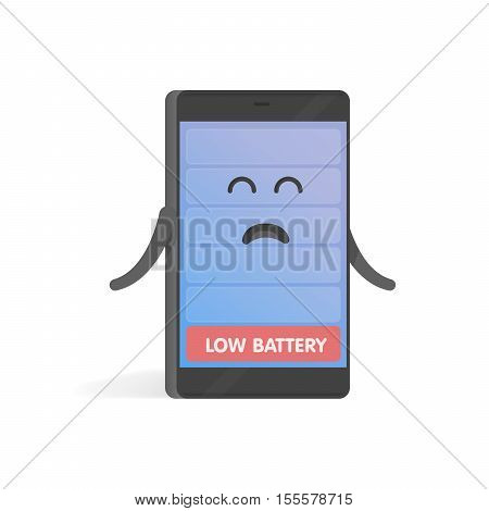 Smartphone concept upset low battery charge. Cute cartoon character phone with hands eyes and smile.