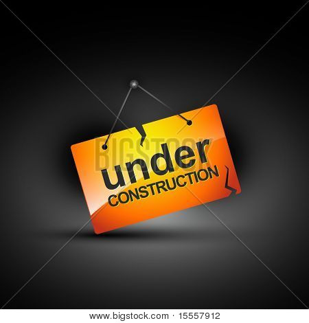 hanging under construction sign illustration