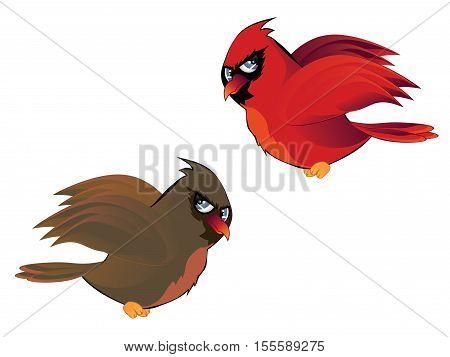 Cartoon Couple Of Cardinals
