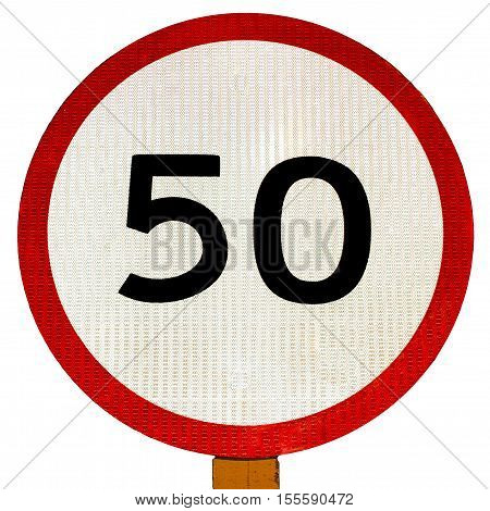 50 speed limit sign isolated on white background