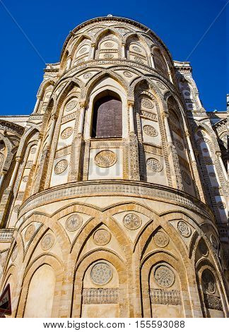 View apses Monreale Cathedral (Duomo di Monreale) near Palermo Sicily Italy. UNESCO Heritage site