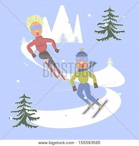Comic concept in flat design. People skiing and screaming with fear. Skis isolated, skier and snow, winter sport, season and mountain, cold downhill, recreation lifestyle, activity speed extreme illustration