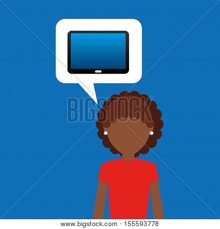 tablet black technology and character afro woman vector illustration eps 10