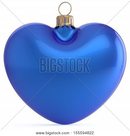 Christmas ball New Years Eve bauble blue heart shape adornment decoration blank. Happy Merry Xmas traditional wintertime holidays ornament love romantic greeting card festive design element. 3d render