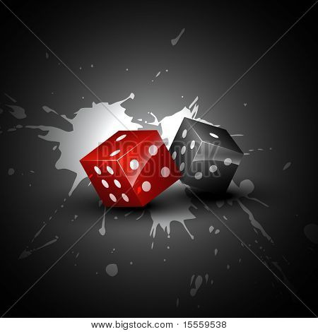 two shiny dices on grungy background