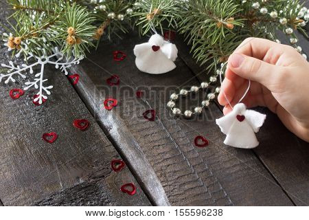 Create Child Christmas Gift Toy Little Angel In Christmas Tree Decorations. Scissors, Cotton Pads, S