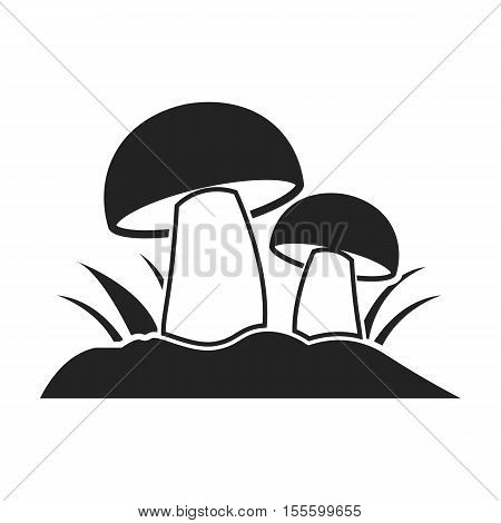 Mushroom icon in black style isolated on white background. Plant symbol vector illustration.
