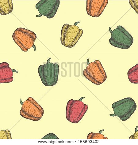 Colored bell pepper seamless pattern. Pattern in swatches