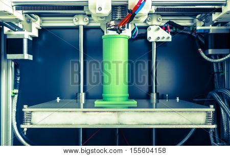 3d printing with light green filament picture