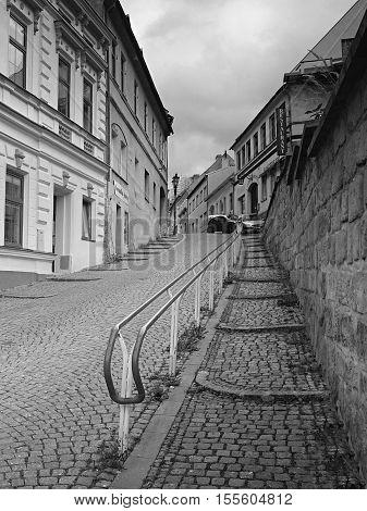 Doksy Macha's land Czech republic - October 29 2016: railing in Comenius street
