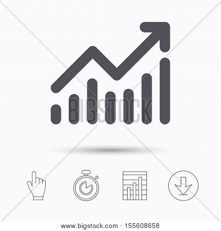 Graph icon. Business analytics chart symbol. Stopwatch timer. Hand click, report chart and download arrow. Linear icons. Vector