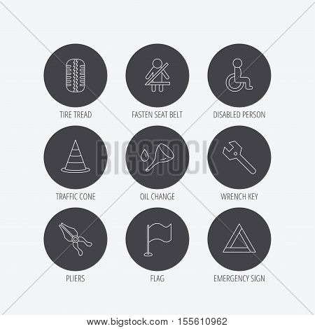 Tire tread, traffic cone and wrench key icons. Emergency triangle, flag and pliers linear signs. Disabled person icons. Linear icons in circle buttons. Flat web symbols. Vector