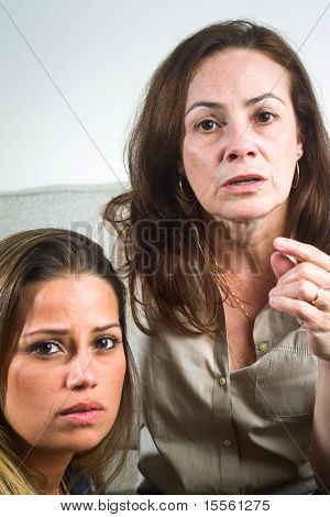 Beautiful Brazilian Mother And Daughter Indoors Portrait