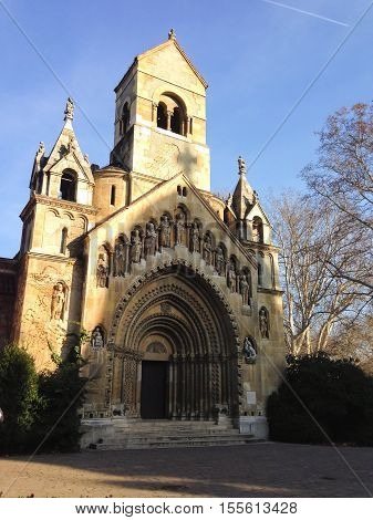 Jak Chapel in Budapest, Hungary. Beautiful medieval church with large portal