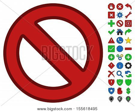 Forbidden toolbar pictogram with bright toolbar icon clip art. Vector pictogram style is flat symbols with contour edges.