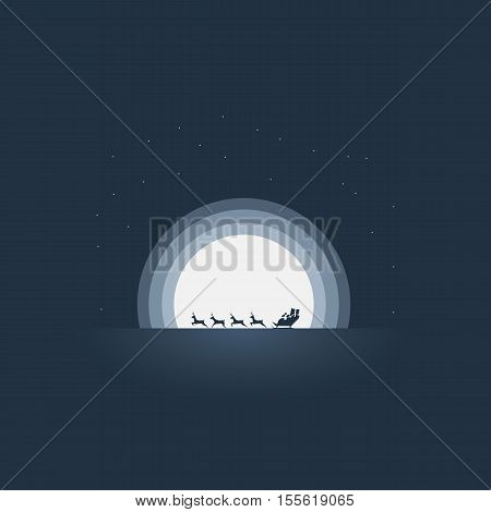 Santa Claus riding his sleigh christmas card vector template. Reindeer pulling sledge at hight speed against the moonlight. Eps10 vector illustration.