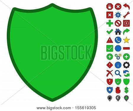 Shield interface toolbar pictogram with bright toolbar icon clip art. Vector pictogram style is flat symbols with contour edges.