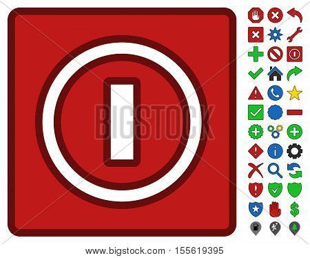 Turn Off Switch interface icon with bright toolbar icon collection. Vector pictograph style is flat symbols with contour edges.