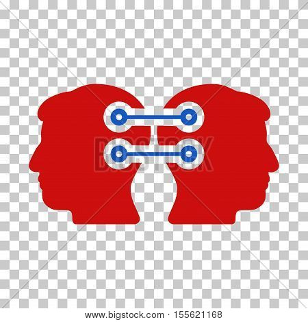 Blue And Red Dual Heads Interface Connection toolbar icon. Vector pictograph style is a flat bicolor symbol on chess transparent background.