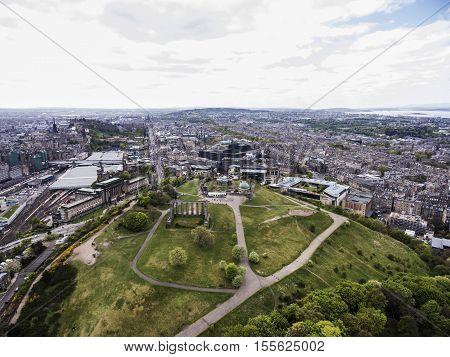 Edinburgh city the historic Calton Hill Monuments Aerial shot