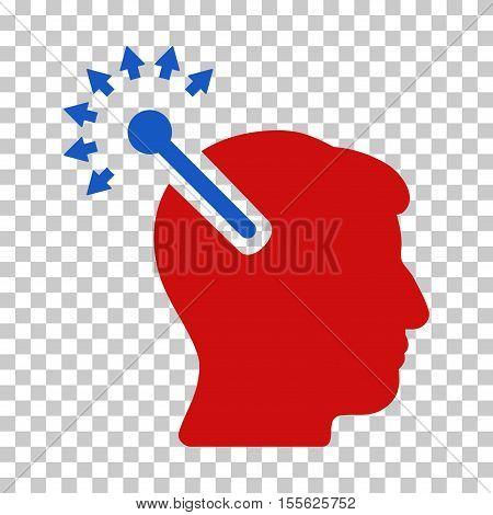 Blue And Red Optical Neural Interface interface toolbar icon. Vector pictogram style is a flat bicolor symbol on chess transparent background.