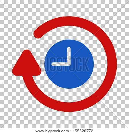 Blue And Red Repeat Clock toolbar pictogram. Vector pictograph style is a flat bicolor symbol on chess transparent background.