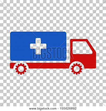 Blue And Red Service Car toolbar pictogram. Vector pictograph style is a flat bicolor symbol on chess transparent background.
