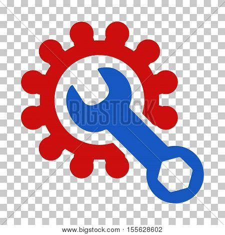 Blue And Red Service Tools toolbar icon. Vector pictogram style is a flat bicolor symbol on chess transparent background.