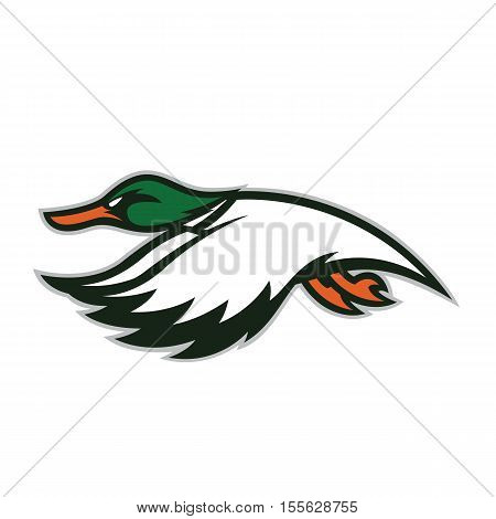 Clipart picture of a flying duck cartoon mascot logo character